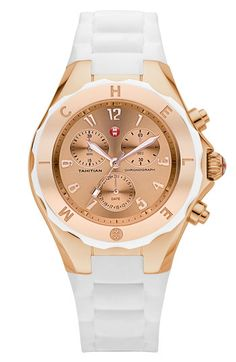MICHELE 'Tahitian Jelly Bean' 40mm Rose Gold Watch available at #Nordstrom