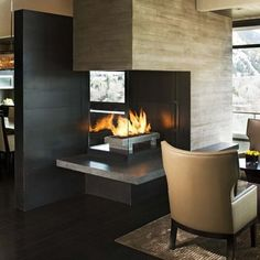 Could it be, dare I say, fireplace as room divider.  Living Room Design, Pictures, Remodel, Decor and Ideas - page 14