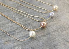 Bridesmaid necklace Gold Pearl necklace Bridesmaid by AngelicSpark