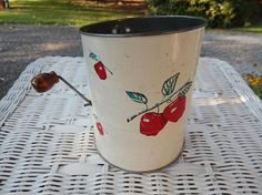 Bromwell's Measuring Sifter White with Red Apples Vintage