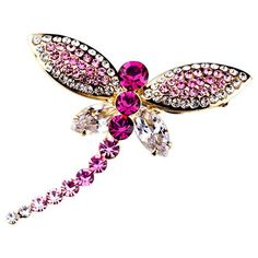 Pugster 22k Golden Plated Dragonfly Rose Pink Swarovski Crystal Diamond Accent Animal Brooches And Pins