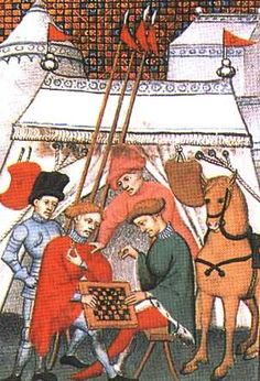 Knights play chess during a siege. William of Tyre (~1130-1186), 1250-1260, from a French translated manuscript copy