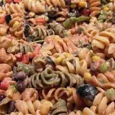 This pasta salad recipe uses salsa, sour cream, black beans, and bell pepper to give a Mexican flair to an old favorite.
