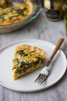 via Julie Andrews of The Gourmet RD This recipe features an asparagus, spinach and sausage filling, baked in a flaky crust and topped with cheese. It's sure to hit the spot any night of the week. Healthy Egg Recipes, Brunch Recipes, Breakfast Recipes, Brunch Dishes, Brunch Ideas, Vegetarian Recipes, Pork Recipes, Breakfast Ideas, Delicious Recipes