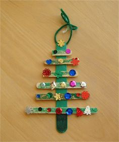 Christmas tree with Popsicle sticks and ornaments