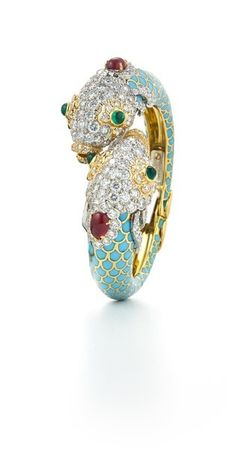 DAVID WEBB Kingdom Collection Couture - Pisces Bracelet - Cabochon emeralds and rubies, brilliant-cut diamonds, light blue enamel, 18K gold, and platinum (=)