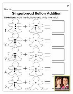 "Adorable ""Gingerbread Button Addition"" activity for Preschool & Kindergarten math!"