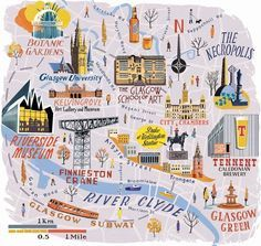 Glasgow map for National Geographic Traveller - Anna Simmons
