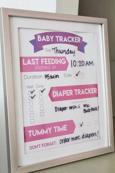Free Printable: baby tracker. Helps new moms and dads keep track of feedings, diaper changes, tummy time and other important topics. Perfect for the baby nursery. A breastfeeding mama must have. #pregnancy #newmom #newbornmusthave #breastfeedingmama