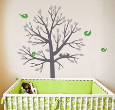 Nesting Tree Wall Sticker Can customise colours Med = Large = Nursery Wall Stickers, Vinyl Wall Stickers, Wall Decal, Birds And Their Nests, Childrens Wall Murals, Sweet Trees, Tree Decals, Tree Wall Art, Nursery Ideas