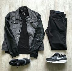 Outfit grid - Leather sleeve trucker