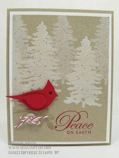 Evergreen Card with Cardinal Bird Punch