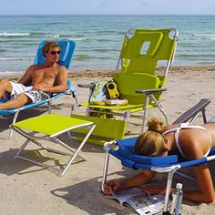 SOOOO need this beach chair! You can lay on your stomach and read...without hurting your neck!