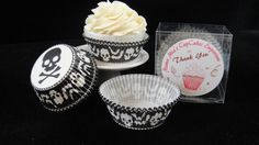 Skulls and Bats Cupcake Liners Halloween by MamaMiasCupcakes
