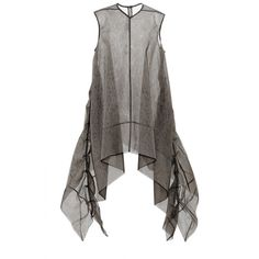 Rick Owens Frilled Turboshell In Dark Dust Tulle (€1.070) ❤ liked on Polyvore featuring tops, dark dust and rick owens