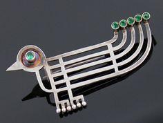 Guayasamin Modernist Sterling Silver Brooch