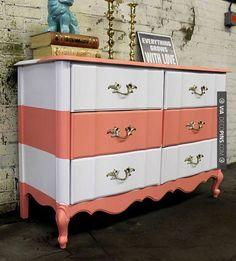 Like this - Vintage Dresser with Cream & Coral Stripes by TheBespoke Shop via Etsy | CHECK OUT MORE DRESSER IDEAS AT DECOPINS.COM | #dressers #dresser #dressers #diydresser #hutch #storage #homedecor #homedecoration #decor #livingroom