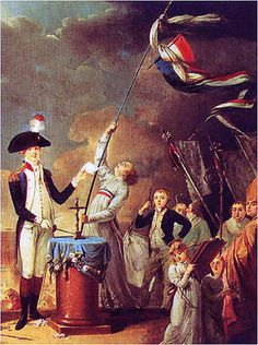 7/14/1790 -The Fête de la Fédération, was a huge feast & official event to celebrate the 1 year  anniversary of the short-lived constitutional monarchy in France & what people of the time considered to be the happy conclusion of the French Revolution, the outcome hoped for by the monarchiens. Shown here La Fayette takes oath at the Fête, 14 July 1790. Talleyrand, then Bishop of Autun can be seen on the right. The standing child is the son of La Fayette, the young Georges Washington de La…