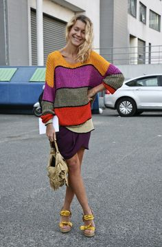 vintage color striped sweater