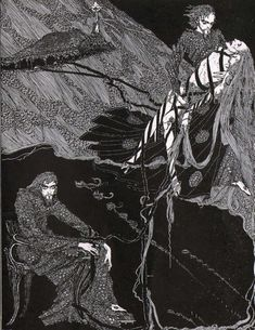 """kateoplis: """" """"The death of a beautiful woman is, unquestionably, the most poetical topic in the world."""" ― Edgar Allan Poe Illustrations: Harry Clarke for Edgar Allen Poe """" Edgar Allen Poe, Edgar Poe, Harry Clarke, Alphonse Mucha, Klimt, H.p. Lovecraft, Baltimore, Creepy Vintage, Aubrey Beardsley"""