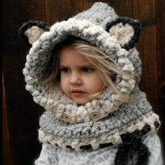 Winter Outdoor Black Knitting Wool Cat Soft warm Hats for Baby Girls Shawl Hooded Cowl Beanie Cap for 2-9 years kids