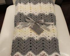 Crochet Chevron Baby Blanket Unisex Baby Boy Blanket Baby Girl Blanket Gray White Beige Yellow Grey Christening Shower Gift