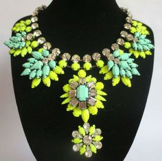 2013 New Arrival Designer crystal colour stone statement beaded choker collar necklace