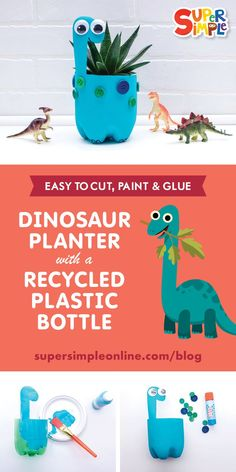 Dinosaur planter with a recycled plastic bottle. Dinosaur planter with a recycled plastic bottle. Plastic Bottle Planter, Reuse Plastic Bottles, Plastic Bottle Crafts, Soda Bottle Crafts, Plastic Craft, Upcycled Crafts, Recycled Art Projects, Recycled Crafts For Kids, Kids Crafts