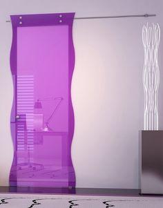 sliding purple glass door - very unique and modern Sliding Door Design, Modern Sliding Doors, Sliding Glass Door, Glass Doors, Solid Doors, Modern Door, Bathroom Design Inspiration, Bathroom Interior Design, Modern Interior Design
