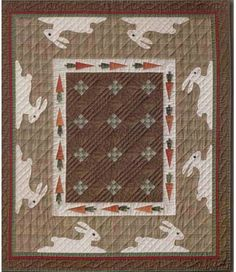 Pet Rabbits quilt pattern by Janet Miller, The City Stitcher. Pet rabbits encircle the quilt with their carrot lunch just in sight. Rabbits have button eyes and embroidered noses and whiskers.