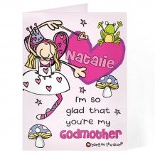 Personalised Bang On The Door Godmother Card