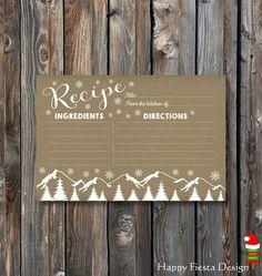 PRINTABLE Christmas Recipe Card-Holiday Recipe Card-Rustic