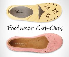 Cut-outs on a shoe soften the look of a shoe and add interest to simple styles. The most common use of cut-outs are found on mules, slides, peep-toe flats and heels. Normally cut-outs are found on sandals because of the extra breathability in the spring and summer. The life of cut-out styles can be worn year-round with tights that can add a new and interesting contrast.
