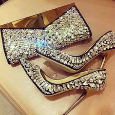 Diamond studded Clutch and Heels
