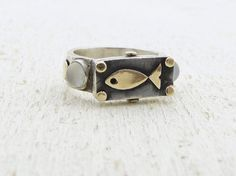 RESERVED for Sabine Sterling Silver Fish Ring Moonstone by Omiya