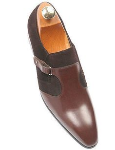 Zota Mens Brown Leather Suede Combination Dress Monk Strap Loafer Slip On Shoe