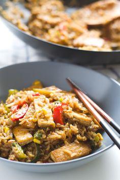 Wok de Tofu con Arroz y Verduras | http://danzadefogones.com/wok-de-tofu-con-arroz-y-verduras/
