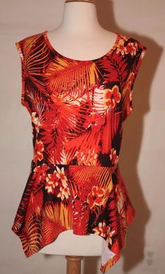 New Cato L Palm Floral Orange Yellow Dress Top Shirt Blouse Sleeveless Large | eBay