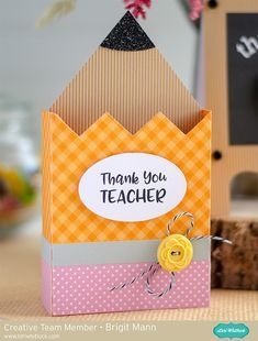 "Brigit's Scraps ""Where Scraps Become Treasures"": Teacher Thank You Cards - Lori Whitlock Creative Team Project Teacher Thank You Cards, Teachers Day Gifts, Cards For Teachers Day, Teachers Day Decoration, Student Gifts, Diy And Crafts, Crafts For Kids, Paper Crafts, Fabric Crafts"