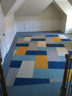 Dallas Play Room in FLOR tiles. Created an inset area rug which was custom cut by our installer to achieve the diagonal orientation. Designed at FLOR-Dallas.