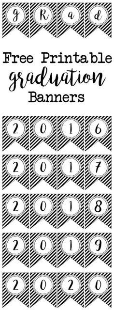 Free Printable banner flags for a black and white gradutaion party. Free Printable banner flags for a black and white gradutaion party. College Graduation Parties, Graduation Banner, Kindergarten Graduation, Graduation Celebration, Graduation Decorations, High School Graduation, Grad Parties, Graduation Gifts, Graduation Ideas