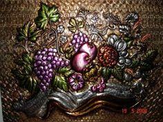 bodegon de frutas cuadro repujado aluminio,cobre,fibra comprimida repujado en metal