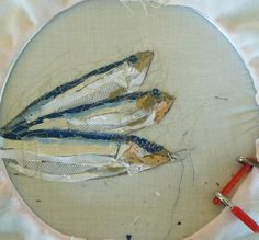 Kathryn Harmer Fox - fish collage - WIP, fabric tacked into place