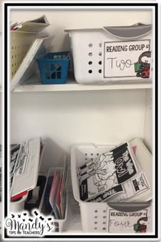 Tons of tips and photos for organizing guided reading materials!