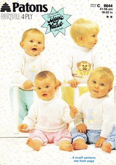 Patons Knitting Pattern 8644, 4 ply, Babys Sweaters with 8 Embroidered Motifs - lion, rabbits, duckling, clown, train, fawn, owl, hearts