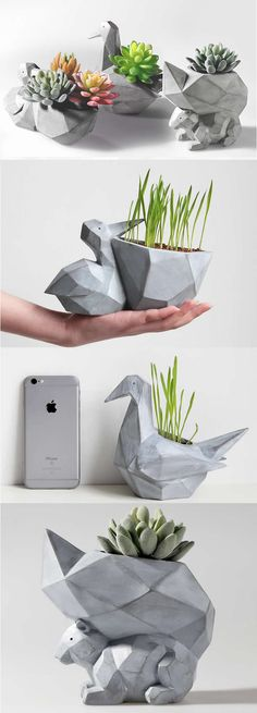Simulation Concrete Animal Succulent Planter Flower Pot