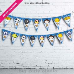 Star Wars Cartoon Happy Birthday Flag Bunting, Star Wars Banner, Backdrop, DIY, Instant Download & Print (Full sets Alphabets and Numbers) by Bigpartystudio on Etsy