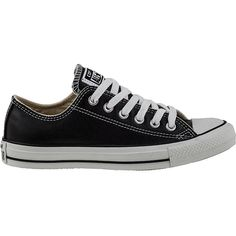 CONVERSE WOMEN'S CHUCK TAYLOR ALL-STAR SNEAKER BLACK LEATHER (€60) ❤ liked on Polyvore featuring shoes, sneakers, converse, sapatos, black trainers, star shoes, black sneakers, converse footwear and kohl shoes