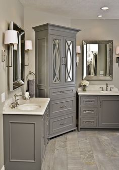 free standing armoir, gray vanitiy, grey vanities, quartz tops, storage drawers, master bathroom