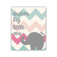 Nursery Print Chevron Nursery Art Print 8x10 Typography Print Dream Big Little One Elephant Art Print on Etsy, $18.00